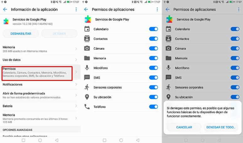 monitorear el permiso de aplicaciones